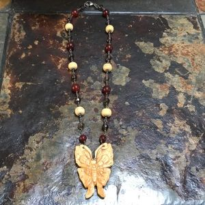 """Jewelry - Boho Butterfly necklace with natural stones 16"""""""